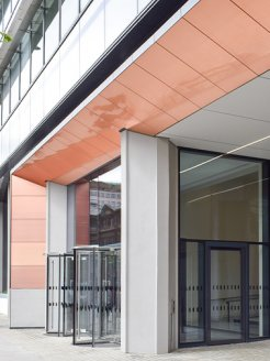 "Portrait view ""Aldgate House""; Copper curtain facade"